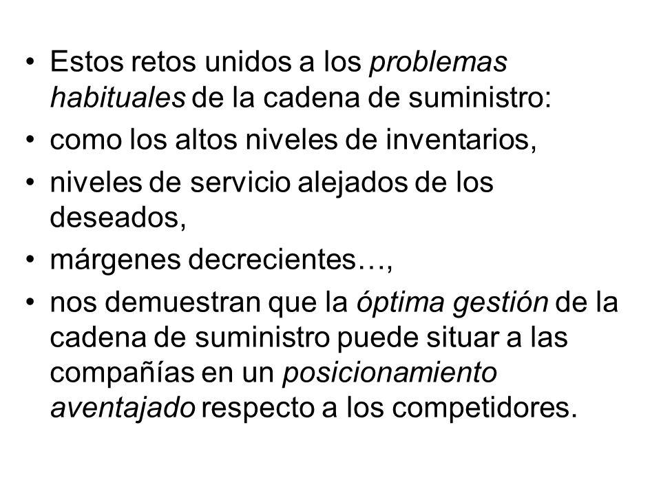 Estos retos unidos a los problemas habituales de la cadena de suministro: como los altos niveles de inventarios, niveles de servicio alejados de los d