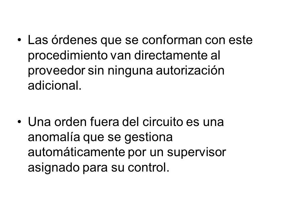 Las órdenes que se conforman con este procedimiento van directamente al proveedor sin ninguna autorización adicional. Una orden fuera del circuito es