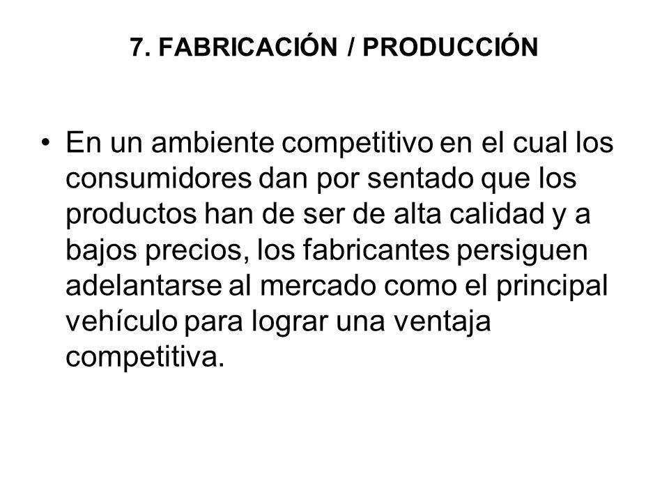 7. FABRICACIÓN / PRODUCCIÓN En un ambiente competitivo en el cual los consumidores dan por sentado que los productos han de ser de alta calidad y a ba