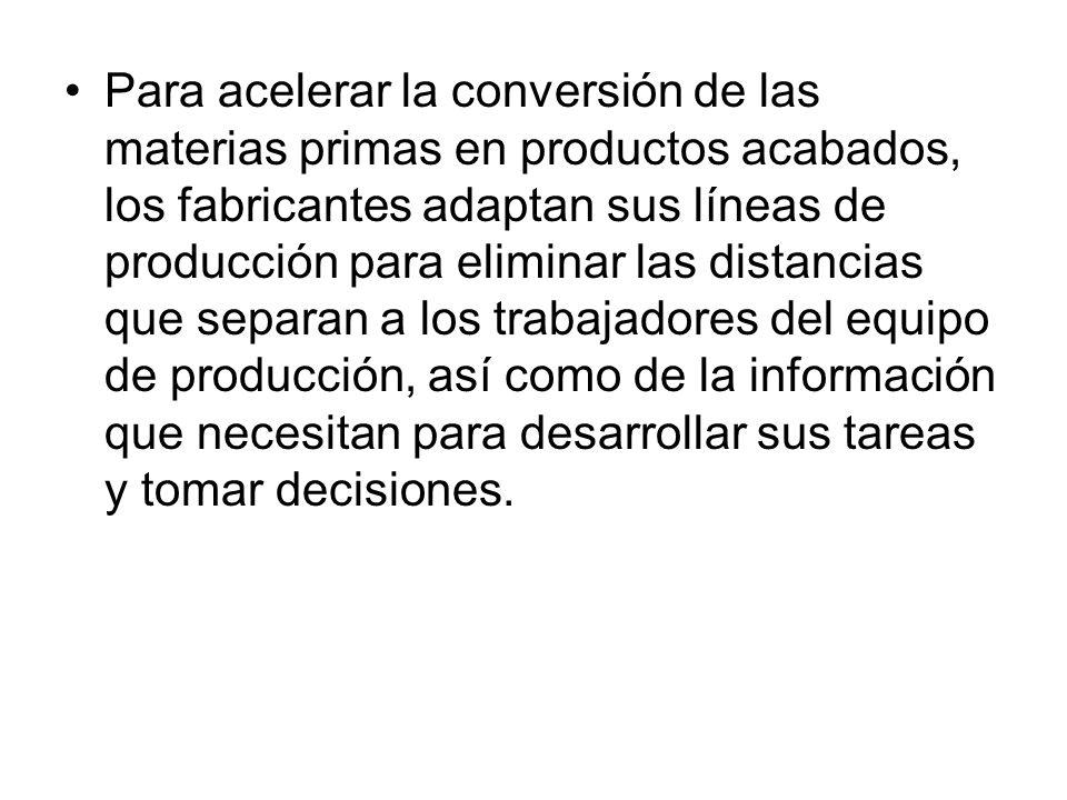 Para acelerar la conversión de las materias primas en productos acabados, los fabricantes adaptan sus líneas de producción para eliminar las distancia