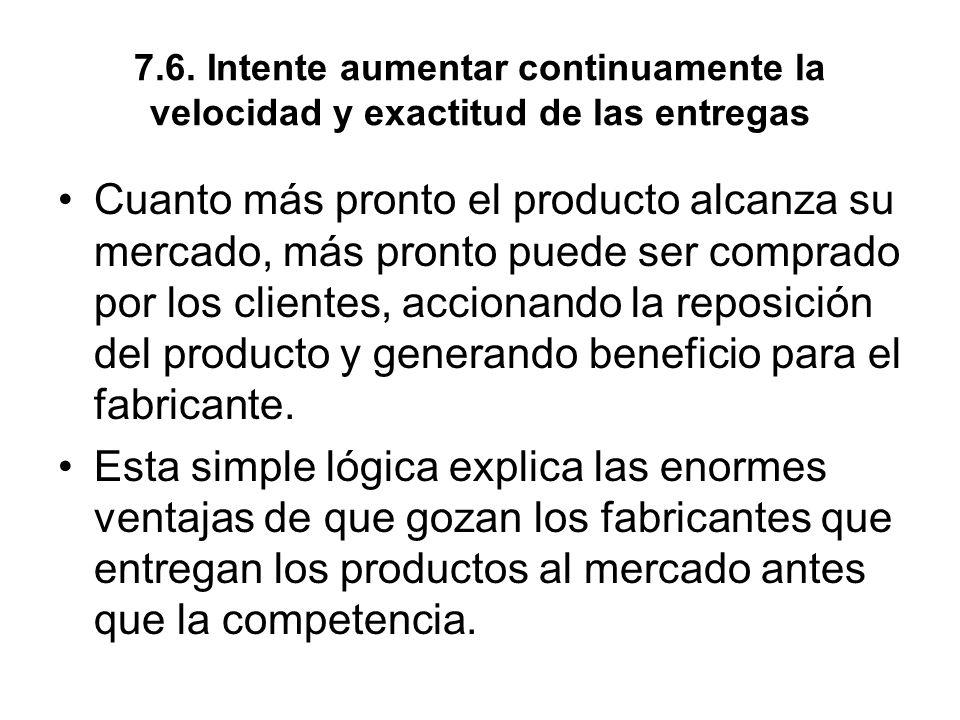 7.6. Intente aumentar continuamente la velocidad y exactitud de las entregas Cuanto más pronto el producto alcanza su mercado, más pronto puede ser co