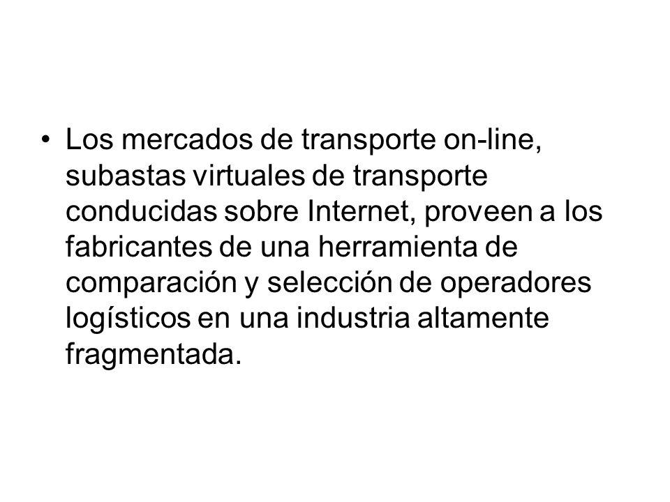 Los mercados de transporte on-line, subastas virtuales de transporte conducidas sobre Internet, proveen a los fabricantes de una herramienta de compar