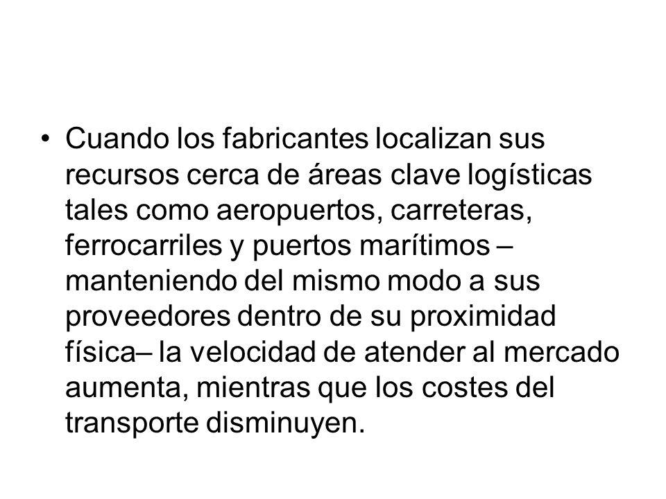 Cuando los fabricantes localizan sus recursos cerca de áreas clave logísticas tales como aeropuertos, carreteras, ferrocarriles y puertos marítimos –