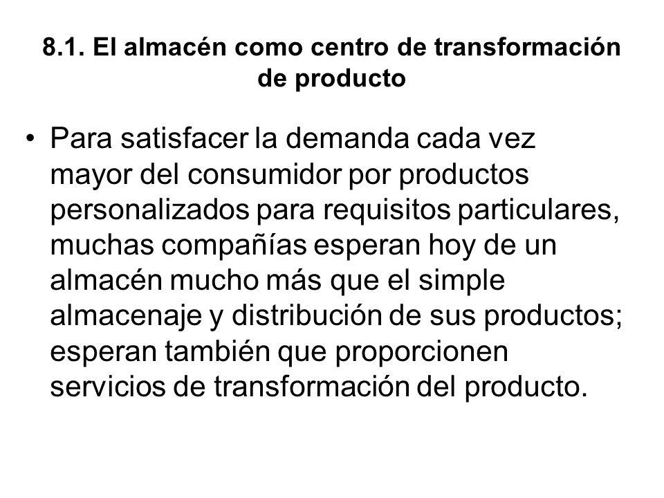 8.1. El almacén como centro de transformación de producto Para satisfacer la demanda cada vez mayor del consumidor por productos personalizados para r