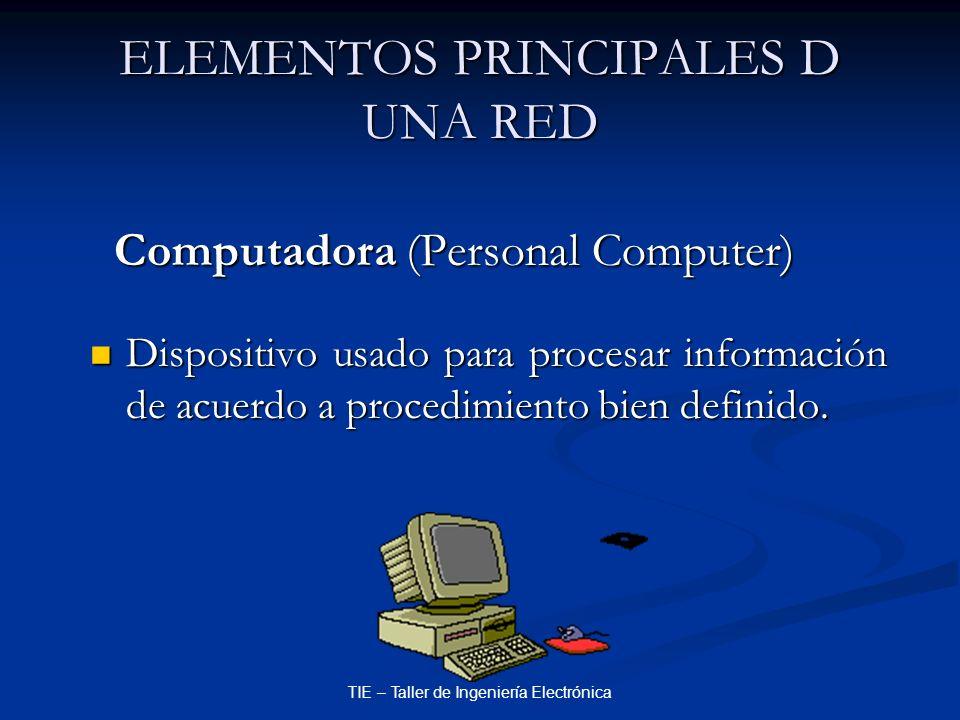 TIE – Taller de Ingeniería Electrónica ELEMENTOS PRINCIPALES D UNA RED Computadora (Personal Computer) Computadora (Personal Computer) Dispositivo usa