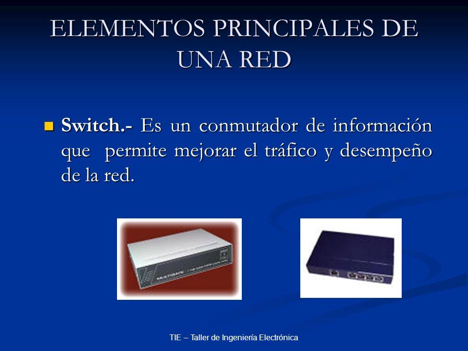 TIE – Taller de Ingeniería Electrónica ELEMENTOS PRINCIPALES DE UNA RED Switch.- Es un conmutador de información que permite mejorar el tráfico y dese