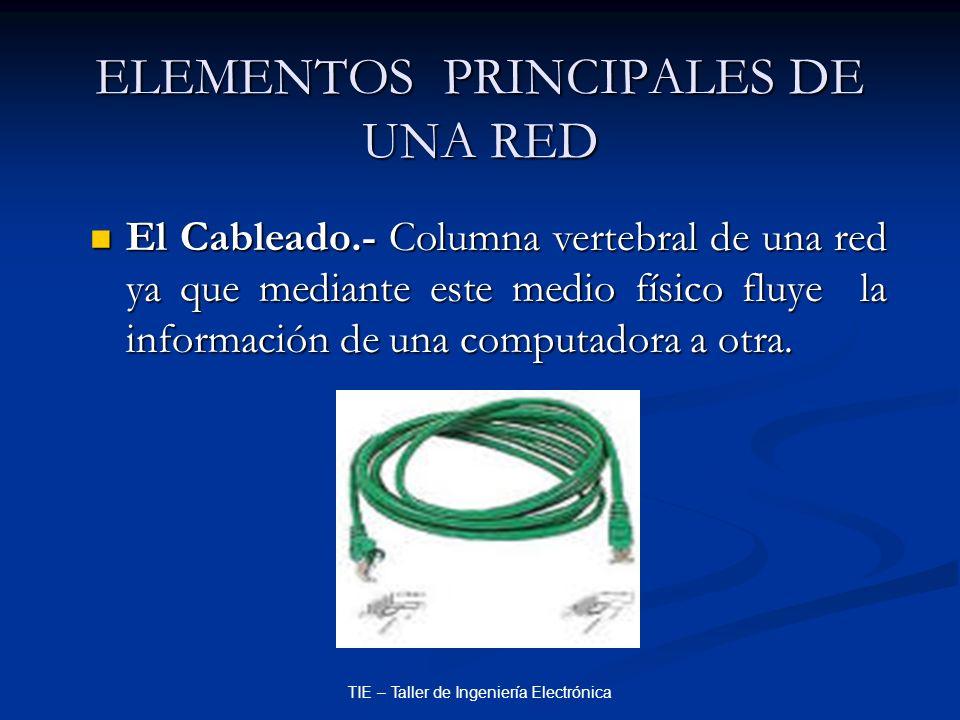 TIE – Taller de Ingeniería Electrónica ELEMENTOS PRINCIPALES DE UNA RED El Cableado.- Columna vertebral de una red ya que mediante este medio físico f