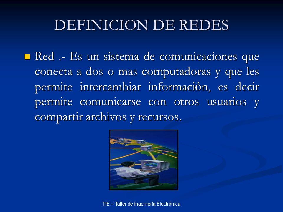 TIE – Taller de Ingeniería Electrónica DEFINICION DE REDES Red.- Es un sistema de comunicaciones que conecta a dos o mas computadoras y que les permit