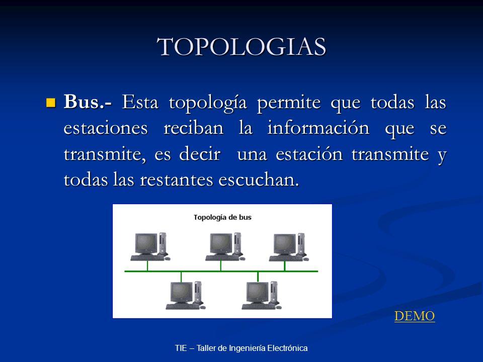TIE – Taller de Ingeniería Electrónica TOPOLOGIAS Bus.- Esta topología permite que todas las estaciones reciban la información que se transmite, es de