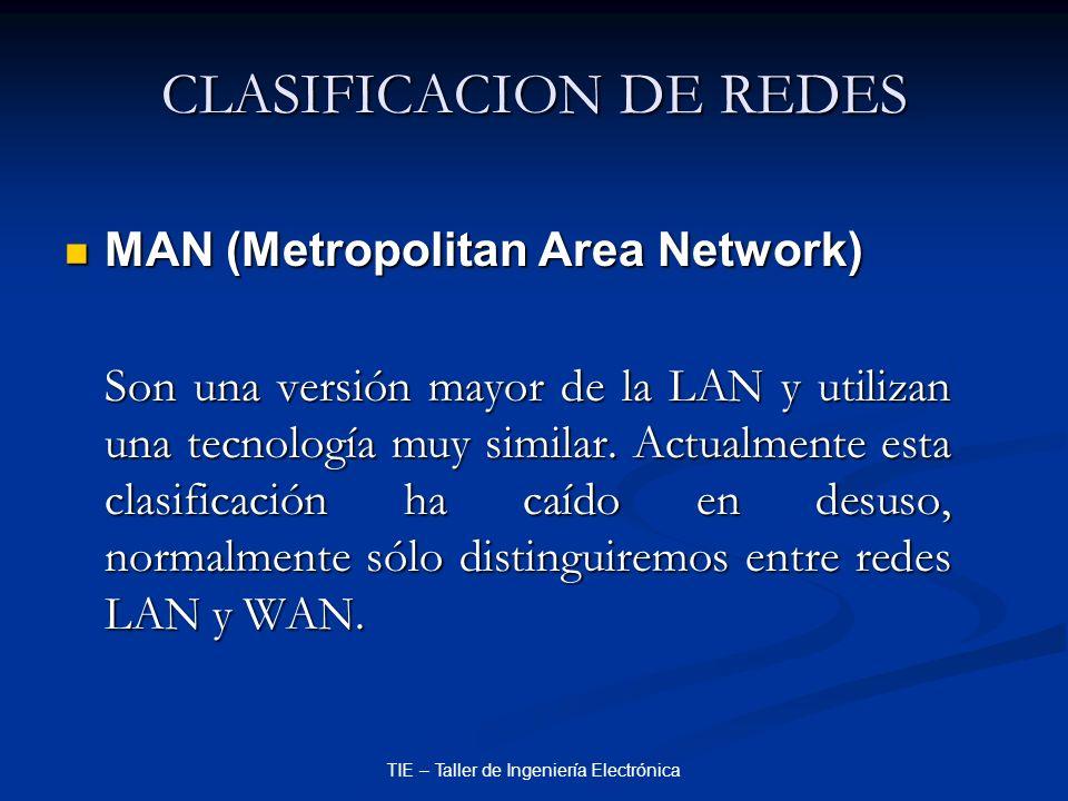 TIE – Taller de Ingeniería Electrónica CLASIFICACION DE REDES MAN (Metropolitan Area Network) MAN (Metropolitan Area Network) Son una versión mayor de