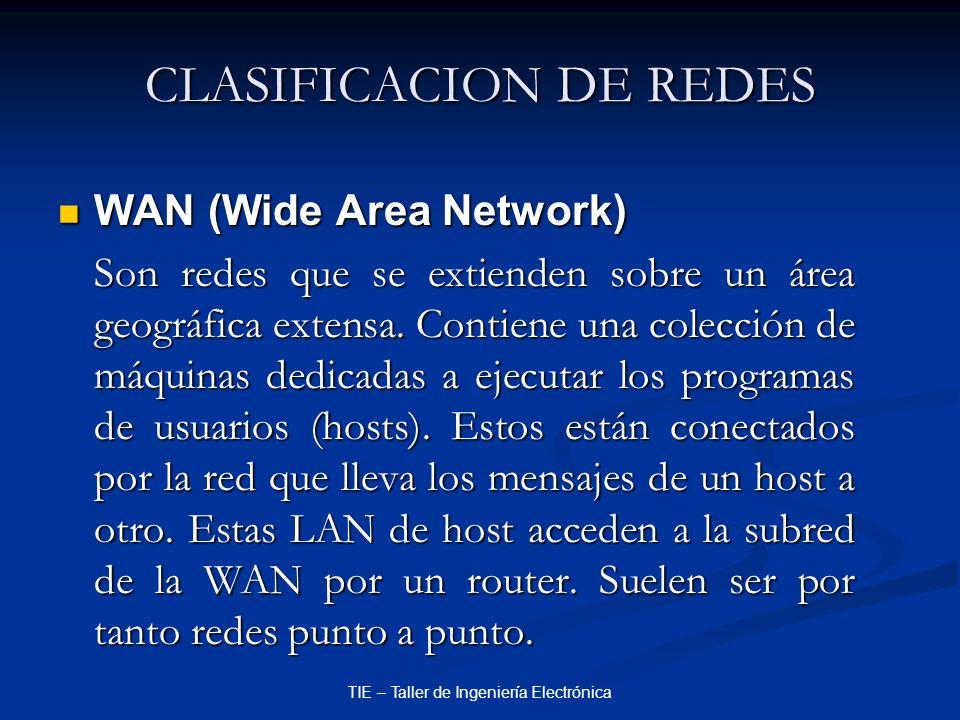 TIE – Taller de Ingeniería Electrónica CLASIFICACION DE REDES WAN (Wide Area Network) WAN (Wide Area Network) Son redes que se extienden sobre un área