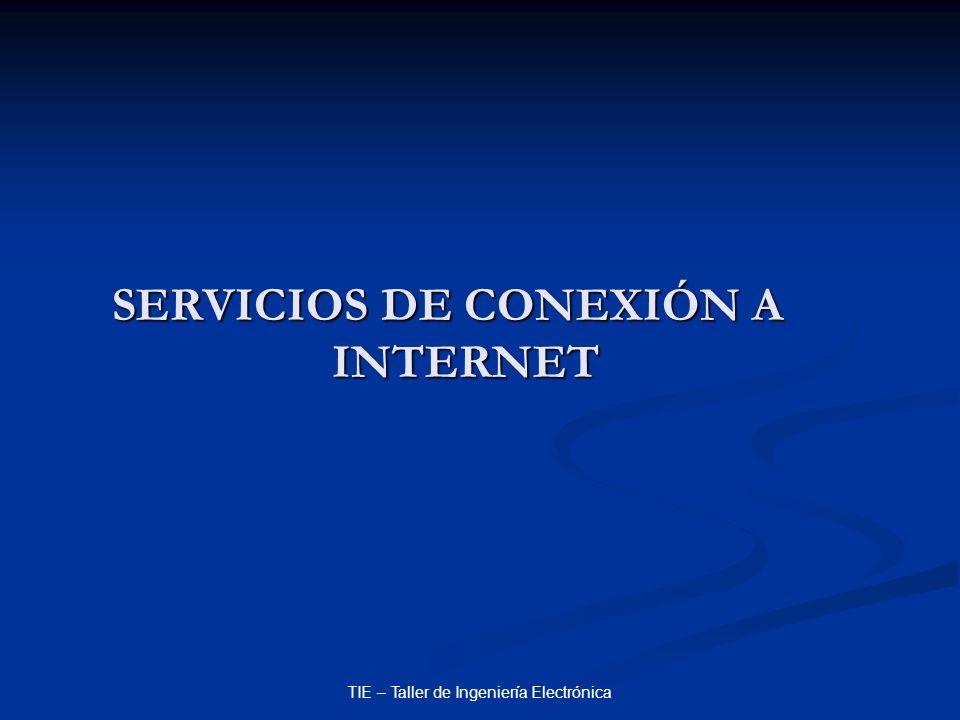 TIE – Taller de Ingeniería Electrónica SERVICIOS DE CONEXIÓN A INTERNET