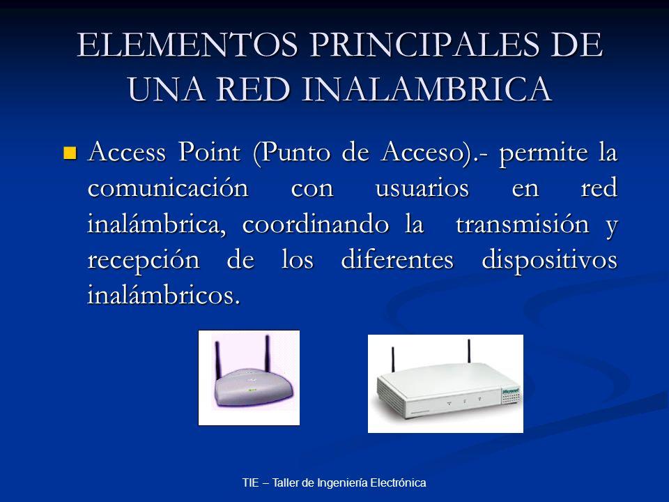 TIE – Taller de Ingeniería Electrónica ELEMENTOS PRINCIPALES DE UNA RED INALAMBRICA Access Point (Punto de Acceso).- permite la comunicación con usuar