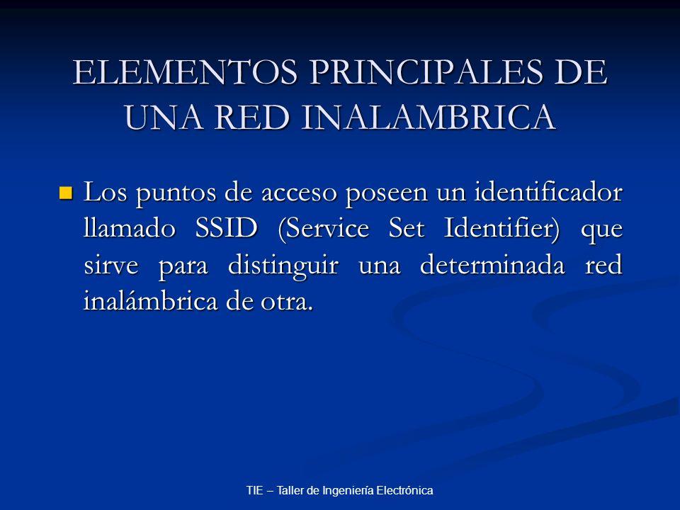 TIE – Taller de Ingeniería Electrónica ELEMENTOS PRINCIPALES DE UNA RED INALAMBRICA Los puntos de acceso poseen un identificador llamado SSID (Service