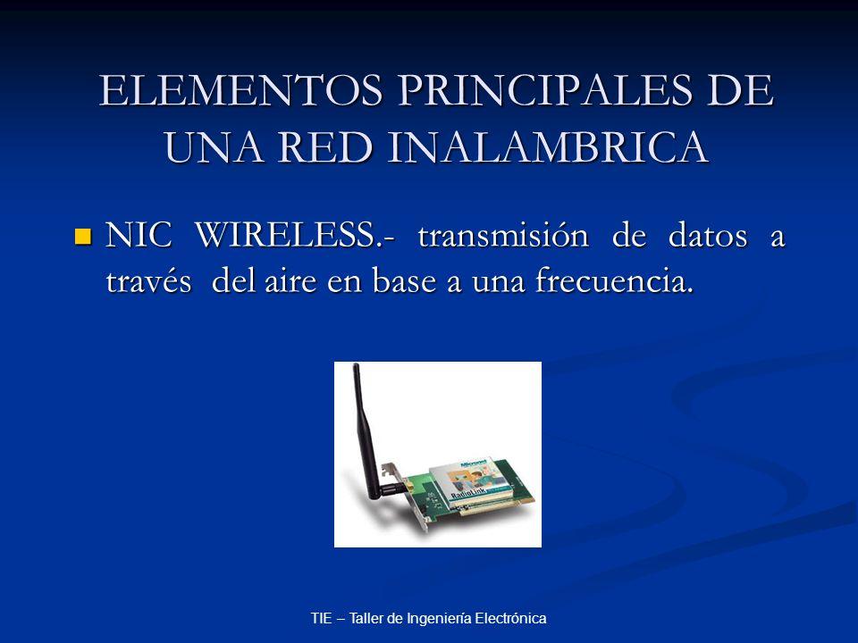 TIE – Taller de Ingeniería Electrónica ELEMENTOS PRINCIPALES DE UNA RED INALAMBRICA NIC WIRELESS.- transmisión de datos a través del aire en base a un