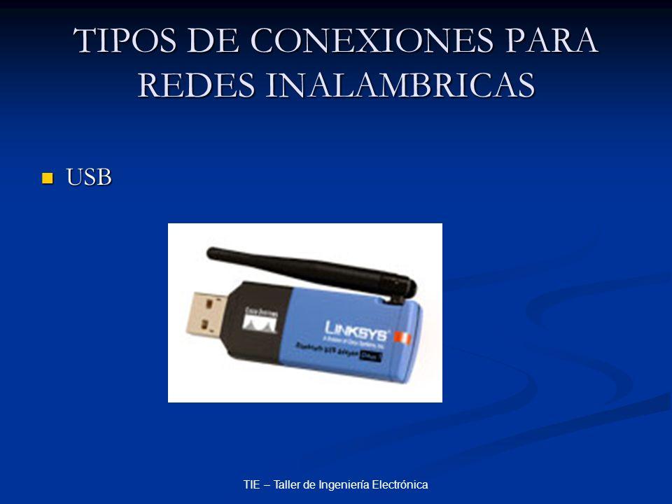 TIE – Taller de Ingeniería Electrónica TIPOS DE CONEXIONES PARA REDES INALAMBRICAS USB USB
