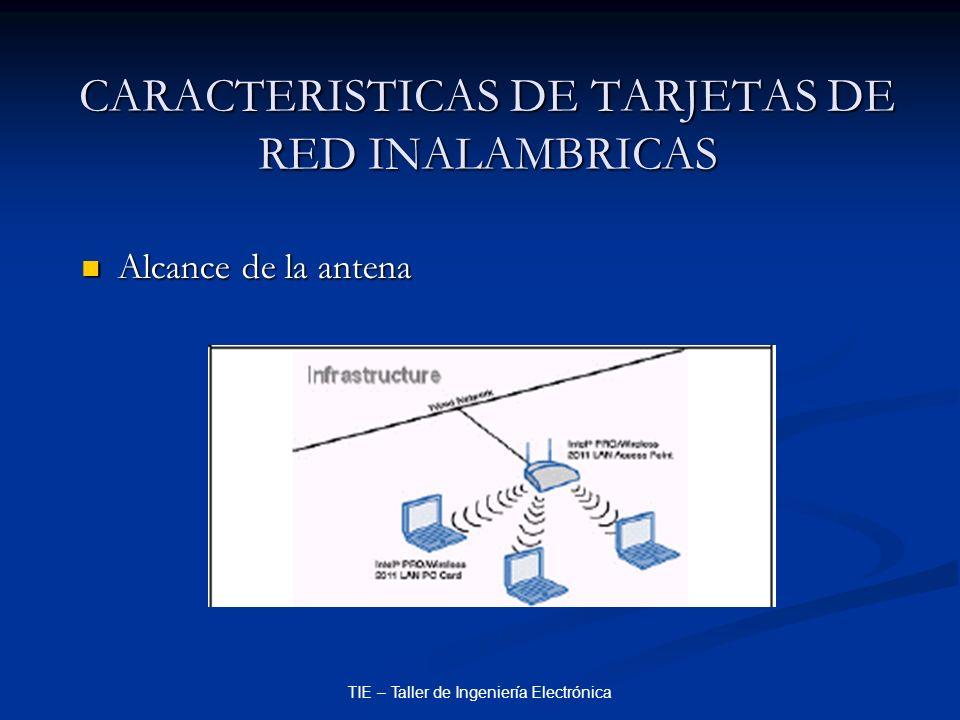 TIE – Taller de Ingeniería Electrónica CARACTERISTICAS DE TARJETAS DE RED INALAMBRICAS Alcance de la antena Alcance de la antena