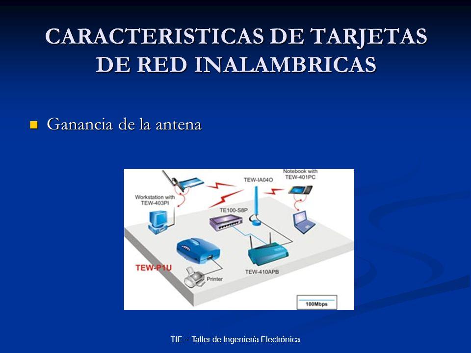 TIE – Taller de Ingeniería Electrónica CARACTERISTICAS DE TARJETAS DE RED INALAMBRICAS Ganancia de la antena Ganancia de la antena