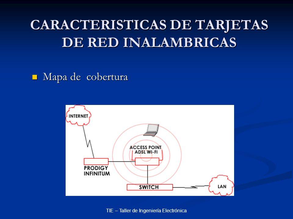 TIE – Taller de Ingeniería Electrónica CARACTERISTICAS DE TARJETAS DE RED INALAMBRICAS Mapa de cobertura Mapa de cobertura