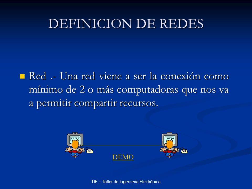 TIE – Taller de Ingeniería Electrónica DEFINICION DE REDES Red.- Una red viene a ser la conexión como mínimo de 2 o más computadoras que nos va a perm