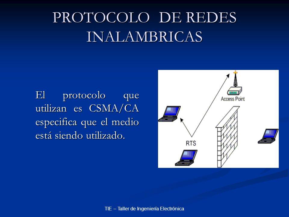 TIE – Taller de Ingeniería Electrónica PROTOCOLO DE REDES INALAMBRICAS El protocolo que utilizan es CSMA/CA especifica que el medio está siendo utiliz