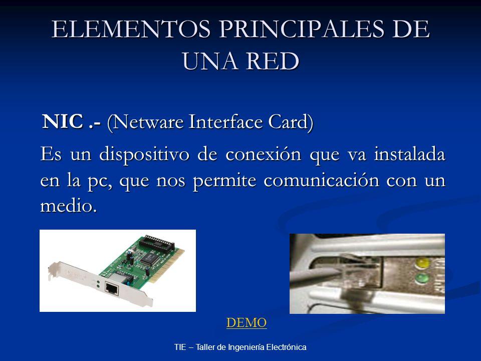 TIE – Taller de Ingeniería Electrónica ELEMENTOS PRINCIPALES DE UNA RED NIC.- (Netware Interface Card) NIC.- (Netware Interface Card) Es un dispositiv
