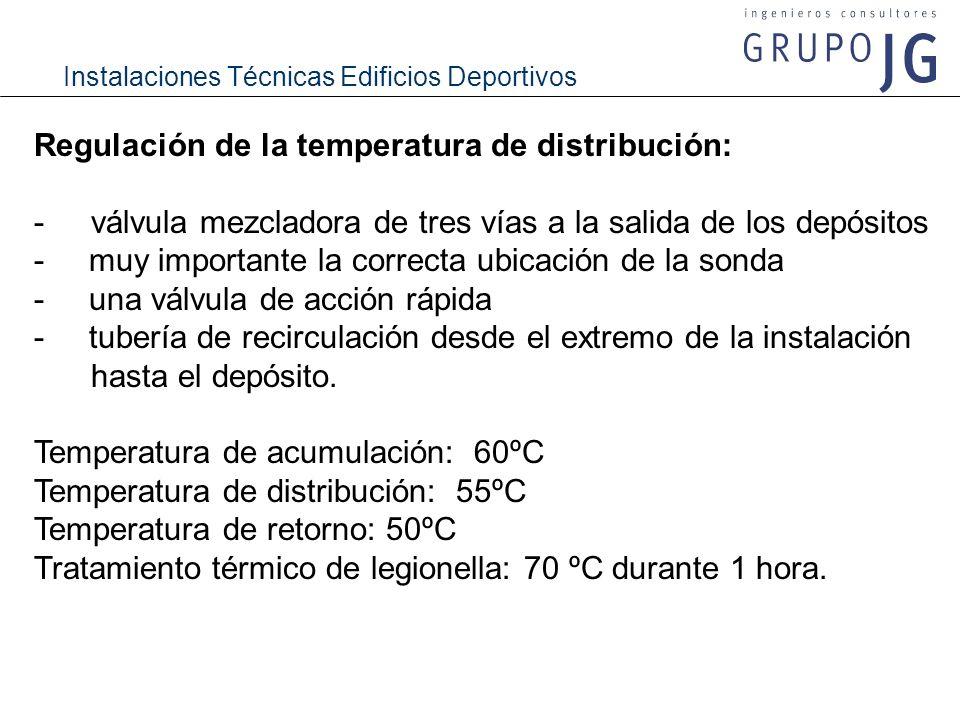 Regulación de la temperatura de distribución: -válvula mezcladora de tres vías a la salida de los depósitos - muy importante la correcta ubicación de