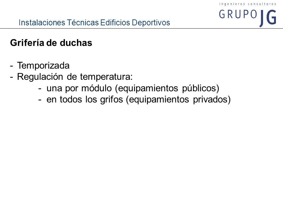 Instalaciones Técnicas Edificios Deportivos Grifería de duchas -Temporizada -Regulación de temperatura: - una por módulo (equipamientos públicos) - en