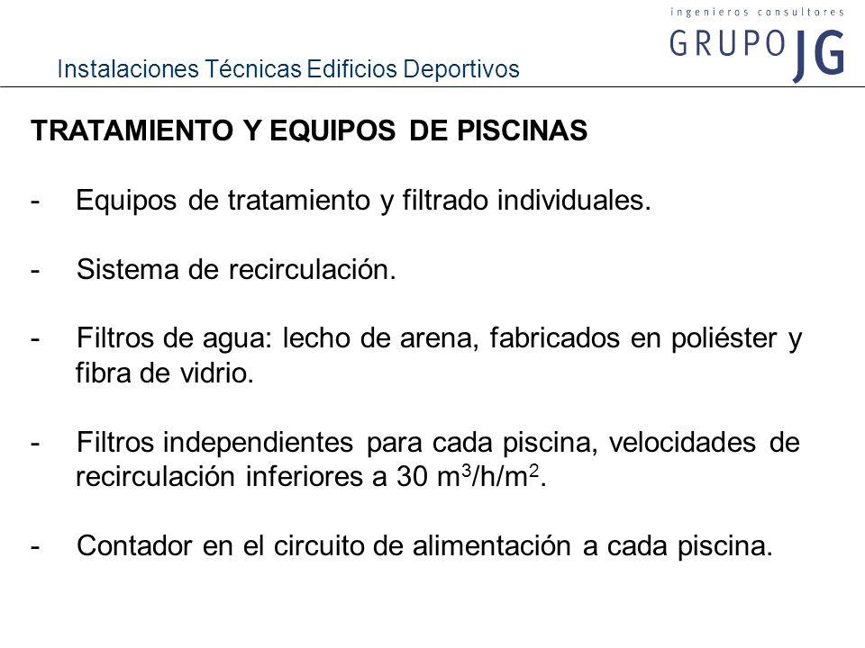 Instalaciones Técnicas Edificios Deportivos TRATAMIENTO Y EQUIPOS DE PISCINAS -Equipos de tratamiento y filtrado individuales. - Sistema de recirculac