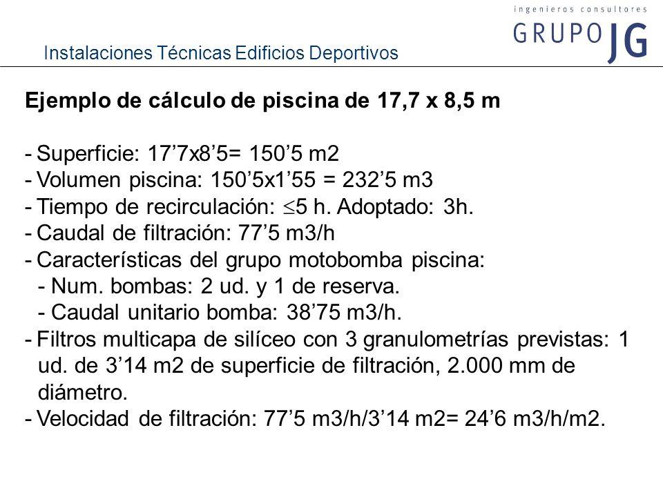 Instalaciones Técnicas Edificios Deportivos Ejemplo de cálculo de piscina de 17,7 x 8,5 m -Superficie: 177x85= 1505 m2 -Volumen piscina: 1505x155 = 23