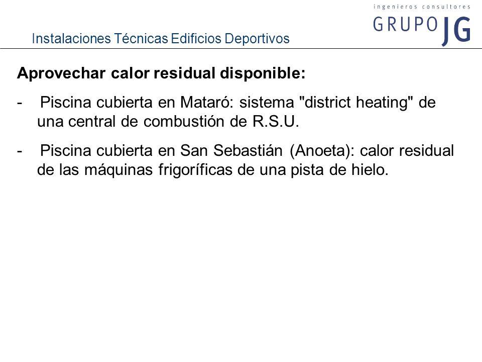 Instalaciones Técnicas Edificios Deportivos Aprovechar calor residual disponible: - Piscina cubierta en Mataró: sistema