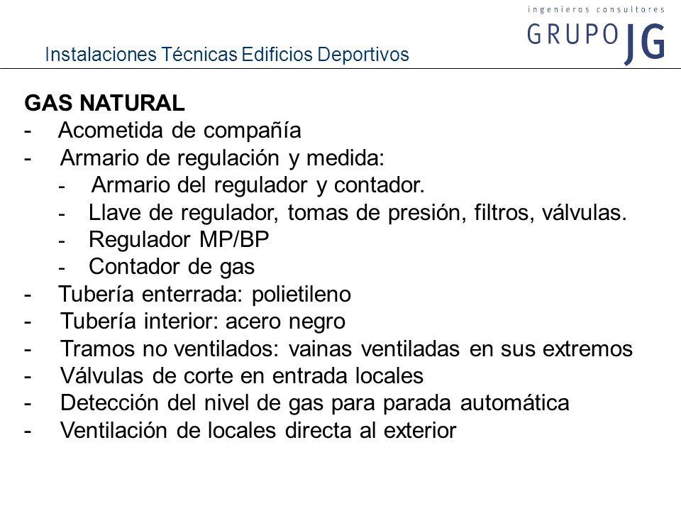 GAS NATURAL -Acometida de compañía - Armario de regulación y medida: - Armario del regulador y contador. - Llave de regulador, tomas de presión, filtr