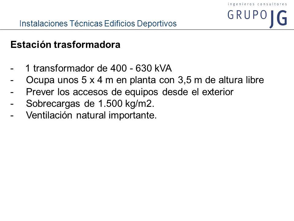 Instalaciones Técnicas Edificios Deportivos Estación trasformadora -1 transformador de 400 - 630 kVA - Ocupa unos 5 x 4 m en planta con 3,5 m de altur