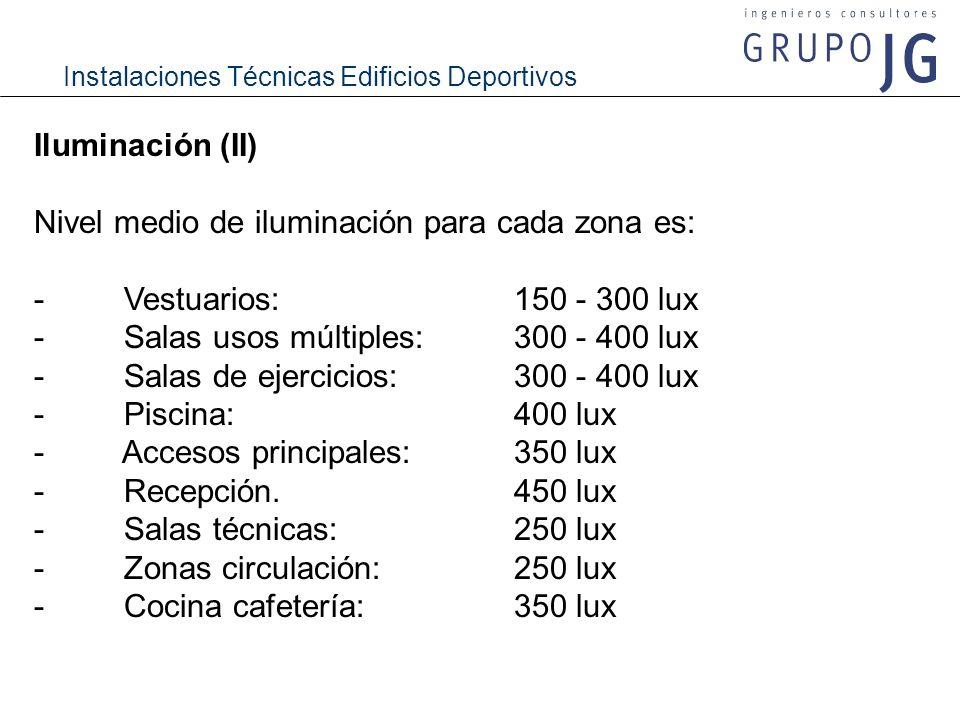 Instalaciones Técnicas Edificios Deportivos Iluminación (II) Nivel medio de iluminación para cada zona es: - Vestuarios: 150 - 300 lux - Salas usos mú