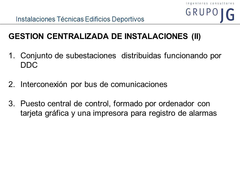 Instalaciones Técnicas Edificios Deportivos GESTION CENTRALIZADA DE INSTALACIONES (II) 1.Conjunto de subestaciones distribuidas funcionando por DDC 2.