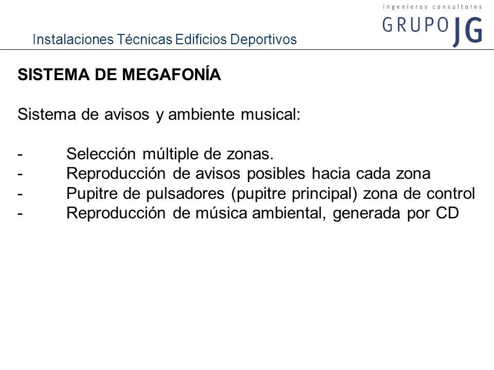 Instalaciones Técnicas Edificios Deportivos SISTEMA DE MEGAFONÍA Sistema de avisos y ambiente musical: -Selección múltiple de zonas. -Reproducción de