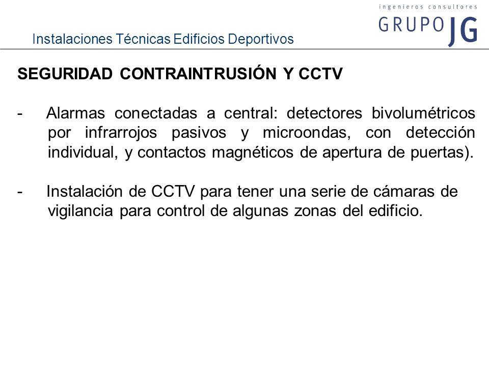 Instalaciones Técnicas Edificios Deportivos SEGURIDAD CONTRAINTRUSIÓN Y CCTV -Alarmas conectadas a central: detectores bivolumétricos por infrarrojos