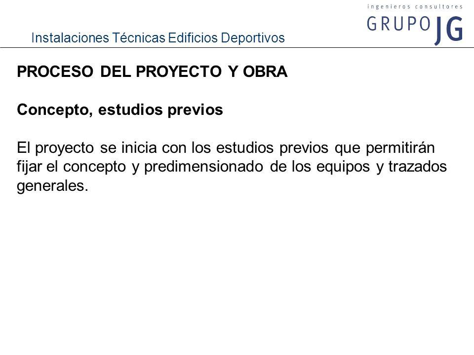 Instalaciones Técnicas Edificios Deportivos PROCESO DEL PROYECTO Y OBRA Concepto, estudios previos El proyecto se inicia con los estudios previos que