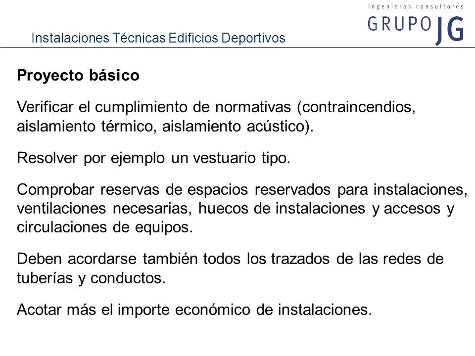 Instalaciones Técnicas Edificios Deportivos Proyecto básico Verificar el cumplimiento de normativas (contraincendios, aislamiento térmico, aislamiento