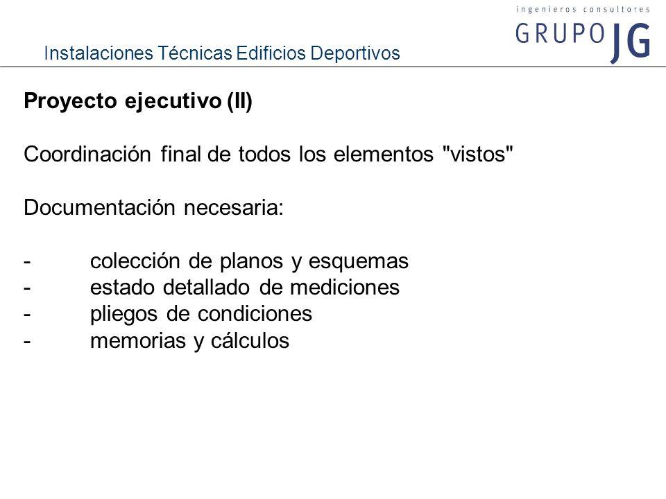 Instalaciones Técnicas Edificios Deportivos Proyecto ejecutivo (II) Coordinación final de todos los elementos