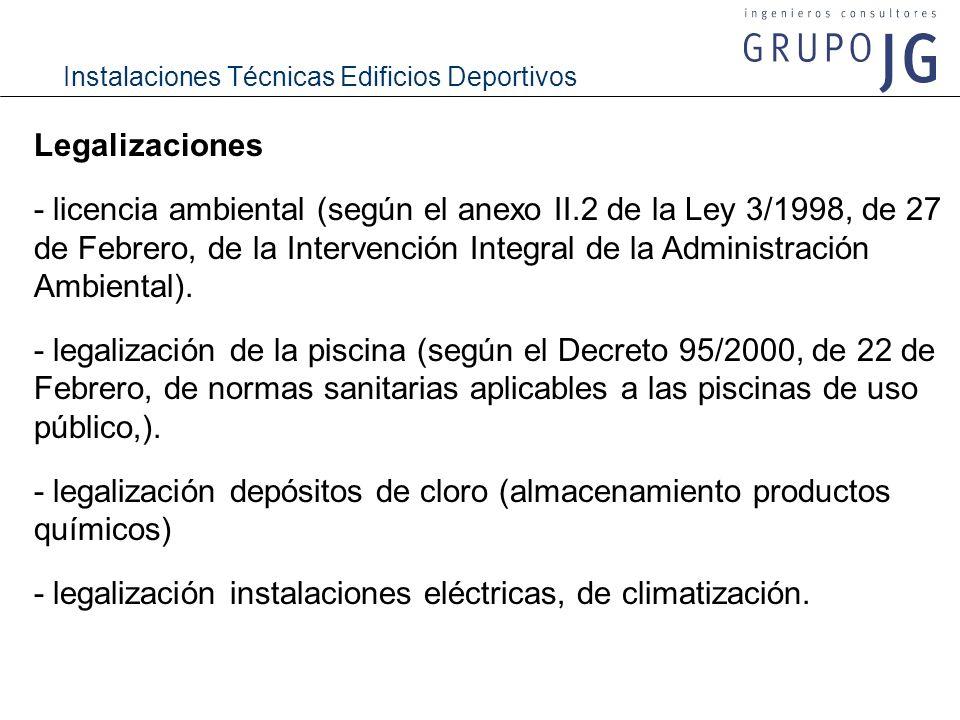 Instalaciones Técnicas Edificios Deportivos Legalizaciones - licencia ambiental (según el anexo II.2 de la Ley 3/1998, de 27 de Febrero, de la Interve
