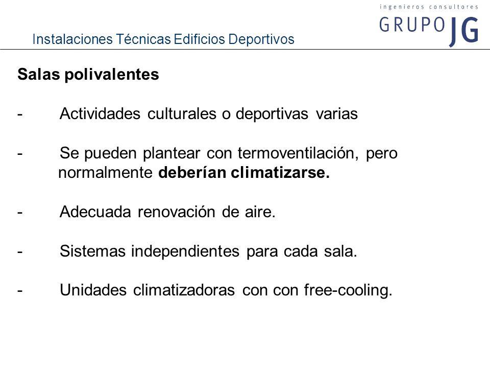 Instalaciones Técnicas Edificios Deportivos Vestuarios - Altas temperaturas: 22 ºC en invierno y 26 ºC en verano.