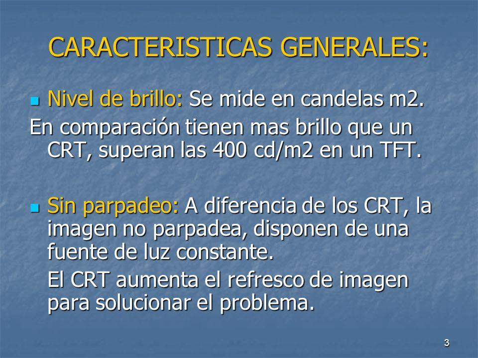 3 CARACTERISTICAS GENERALES: Nivel de brillo: Se mide en candelas m2.