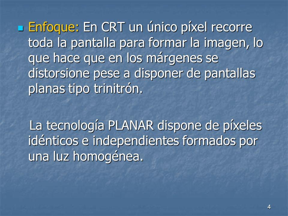 4 Enfoque: En CRT un único píxel recorre toda la pantalla para formar la imagen, lo que hace que en los márgenes se distorsione pese a disponer de pantallas planas tipo trinitrón.