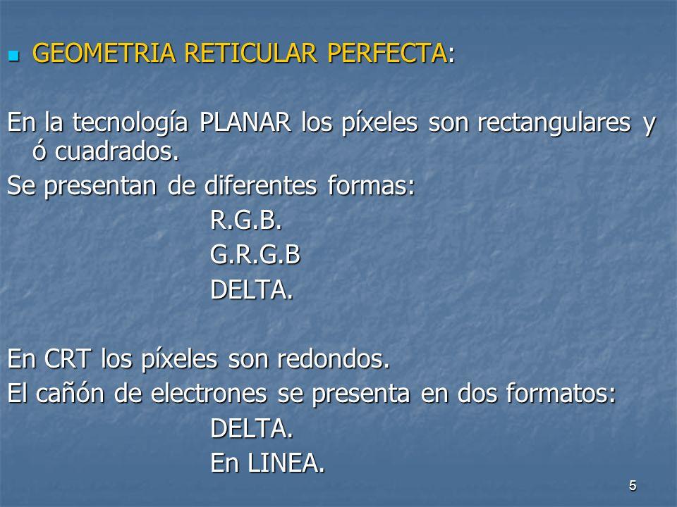 5 GEOMETRIA RETICULAR PERFECTA: GEOMETRIA RETICULAR PERFECTA: En la tecnología PLANAR los píxeles son rectangulares y ó cuadrados.