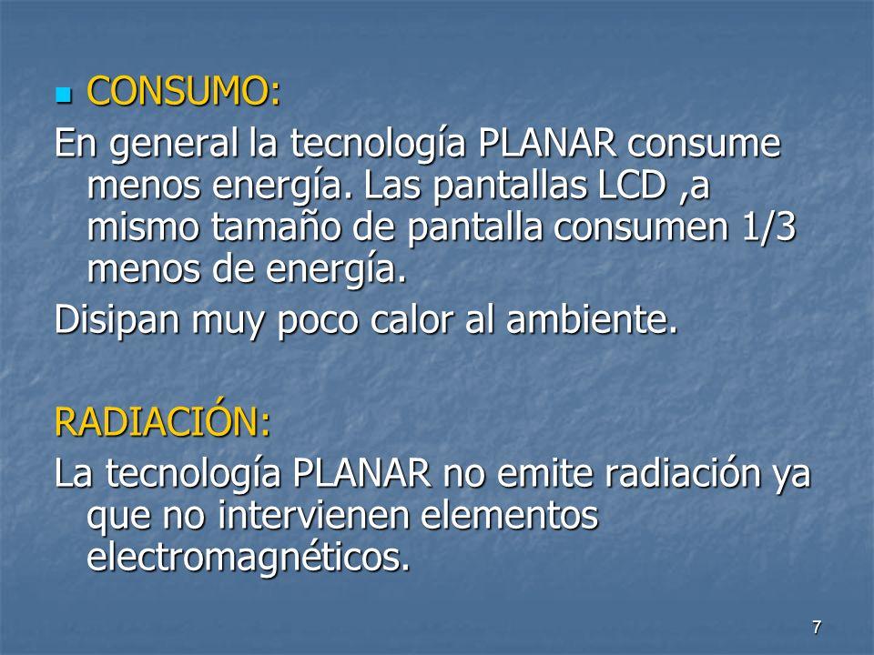 7 CONSUMO: CONSUMO: En general la tecnología PLANAR consume menos energía.