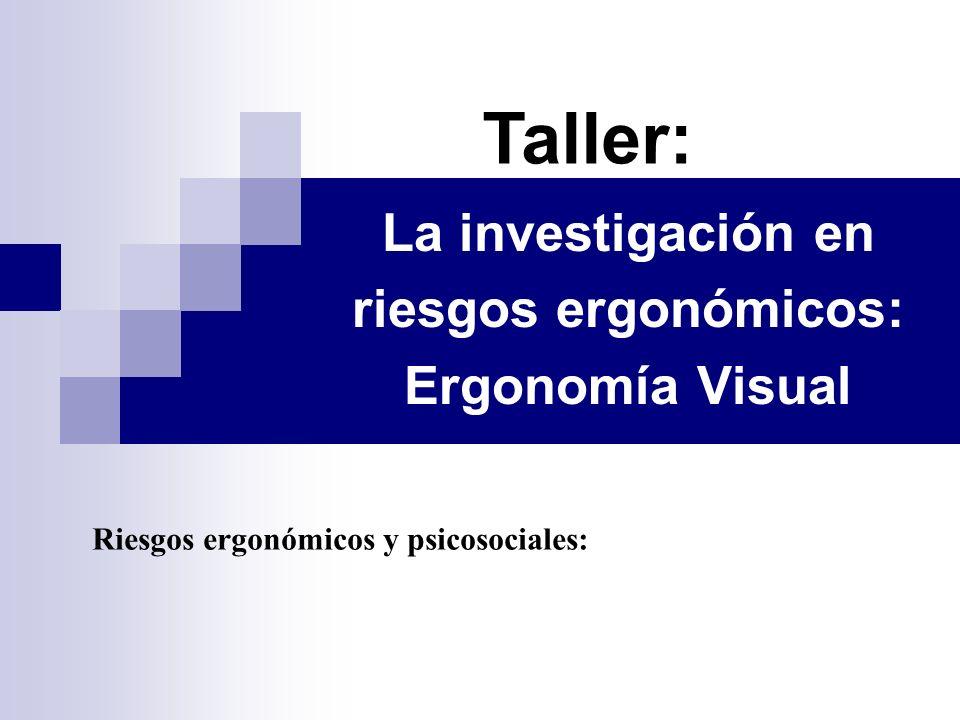 La investigación en riesgos ergonómicos: Ergonomía Visual Taller: Riesgos ergonómicos y psicosociales: