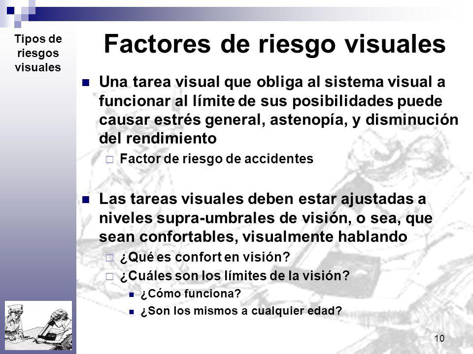 10 Factores de riesgo visuales Una tarea visual que obliga al sistema visual a funcionar al límite de sus posibilidades puede causar estrés general, a
