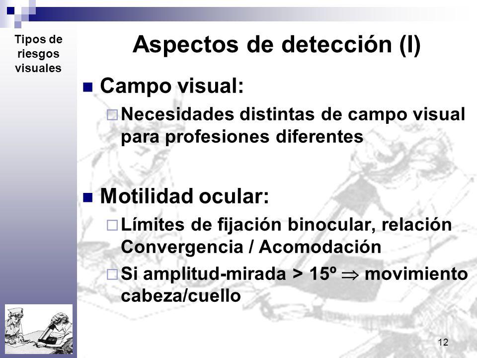 12 Aspectos de detección (I) Campo visual: Necesidades distintas de campo visual para profesiones diferentes Motilidad ocular: Límites de fijación bin