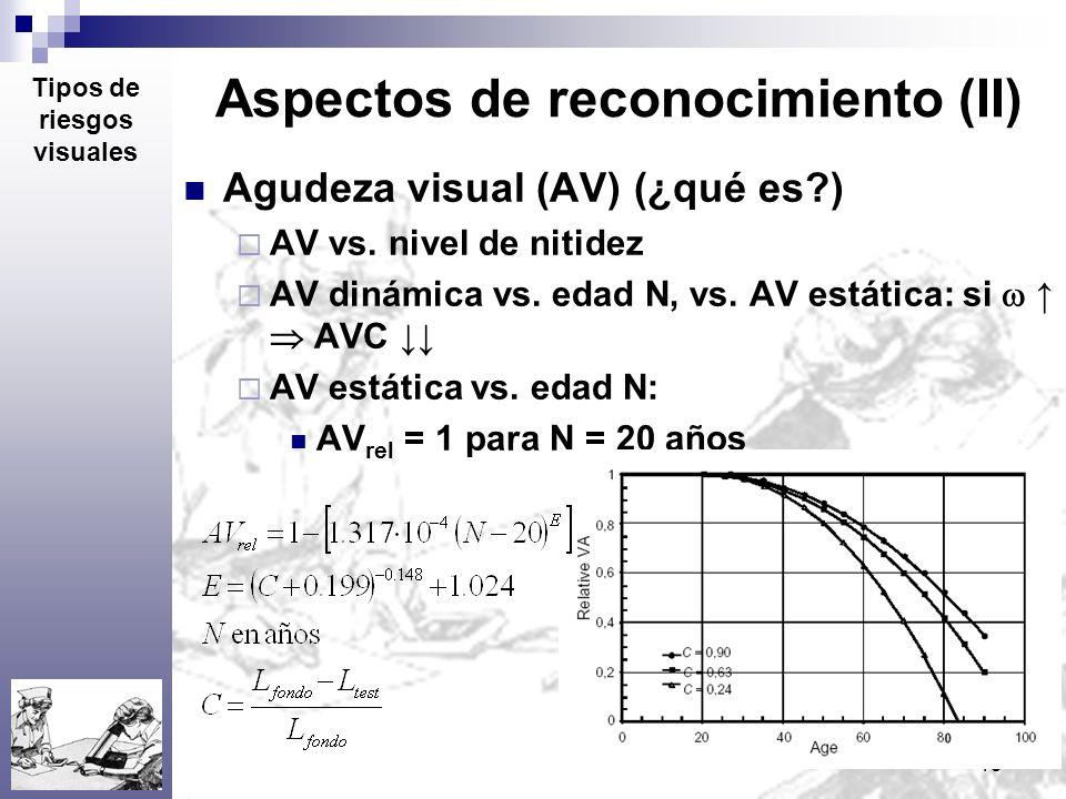 15 Aspectos de reconocimiento (II) Agudeza visual (AV) (¿qué es?) AV vs. nivel de nitidez AV dinámica vs. edad N, vs. AV estática: si AVC AV estática